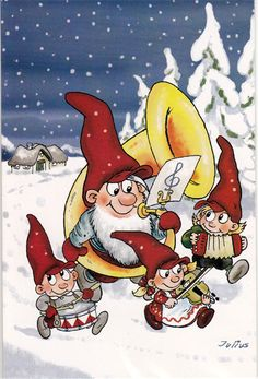 Gnomes, Postcards, Christmas Cards, Arts And Crafts, Craft Ideas, Paintings, Illustration, Fictional Characters, Cards