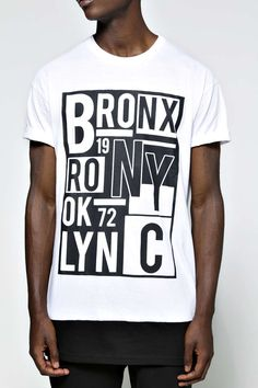 Crew Neck NYC Printed Longline T Shirt alternative image