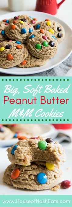 Big, Soft Baked Peanut Butter M&M Cookies are a cookie lover's dream!  Classic peanut butter and chocolate combo in a perfect, jumbo sized cookie that stays super soft with a candy crunch in every bite!  Perfect for a back-to-school afternoon treat!