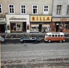 VW Samba Bus and Jaguar E-Type at Äußere Mariahilfer Str. 1150 Vienna - a Billa Supermarket is still there today. Old Pictures, Vintage Pictures, Vw T1 Samba, Good Old Times, Austro Hungarian, Vw Volkswagen, Vienna Austria, Historical Photos, The Good Place