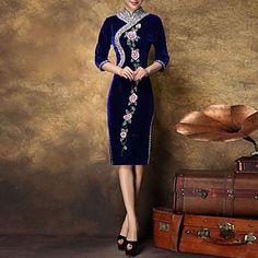 Women's+Formal+Sexy+Bodycon+Dress,Floral+Midi+¾+Sleeve+Blue+Silk+/+Polyester+All+Seasons+–+USD+$+63.99