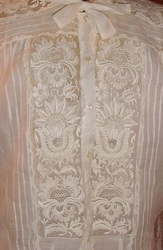 Antique  embroidered French blouse  stunning by TheFleaWhoSaysOUI