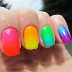 Want some ideas for wedding nail polish designs? This article is a collection of our favorite nail polish designs for your special day. Read for inspiration Gradient Nails, Rainbow Nails, Neon Nails, Neon Rainbow, Funky Nails, Pink Polish, Nail Polish Colors, China Glaze Neon, Rainbow Nail Art Designs