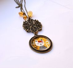 Cat illustration Cameo Necklace  cute cat jewelry by PumpkinDesign, $30.00