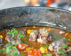 There's nothing better in winter than an oxtail potjie. Here's my favour… There's nothing better in winter than an oxtail potjie. Here's my favourite recipe for this South African dish. Braai Recipes, Oxtail Recipes, Meat Recipes, Cooking Recipes, Yummy Recipes, Cooking Tips, Recipies, South African Dishes, South African Recipes