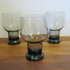 12 SUPER MOD SMOKE GREY Drinking Glasses with Weighted by cammoo