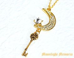 Sailor Moon Necklace - Sailor Moon's Moon Stick in the Form of a Key - Gold Swarovski Crystal Sailor Moon Necklace Jewelry Christmas Gift. $35.00