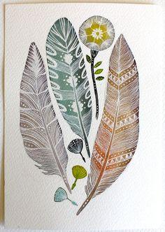 Art aquarelle, plume, pissenlit Nature Art, Archiv - léger comme une plume: