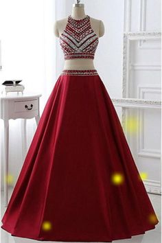 Burgundy Two Pieces Prom Dresses,A-line Prom Dresses,Saprkly Long Prom Dresses For Teens,Handmade Prom Gowns,Evening Dresses,42101