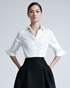elegant perfection. Silk Taffeta Shirt by Carolina Herrera at Neiman Marcus.