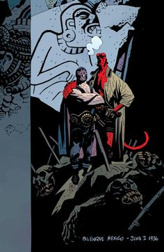 """omercifulheaves: """" Hellboy in Mexico Art by Mike Mignola Basically the sketch that inspired Mignola to do a whole string of stories about Hellboy fighting monsters in Mexico. Always love how some minor thing in Mignola's work can suddenly blow up..."""