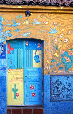 Puertas, Ajijic, Jalisco, México- my hometown! Cool Doors, Unique Doors, Entrance Doors, Doorway, When One Door Closes, Mexican Art, Mexican Style, Painted Doors, Door Knockers