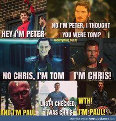 Avengers Humor, Funny Marvel Memes, Marvel Jokes, The Avengers, Stupid Funny Memes, Funny Comics, Hilarious, Dc Comics, Top Funny