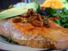 Citrus Salmon Berry Salad with Sweet Curried Pecans
