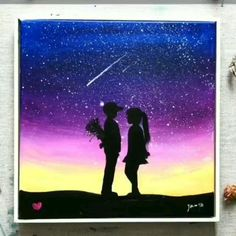 Art Discover Love Painting In Kiss Day 2020 Canvas Painting Idea in Kiss Day 2020 Love Canvas Painting, Simple Canvas Paintings, Easy Canvas Art, Canvas Painting Tutorials, Small Canvas Art, Sky Painting, Easy Paintings, Sillouette Painting, Galaxy Painting Acrylic