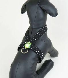 XXXS  M Polka Dot arnés y arnés de perro pequeño buho verde