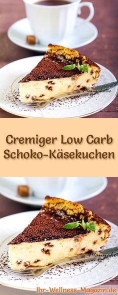 Rezept für Low Carb Schoko-Käsekuchen: Der kohlenhydratarme, kalorienreduzierte Kuchen wird ohne Zucker und Getreidemehl zubereitet ... #lowcarb #kuchen #backen