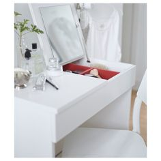 IKEA - BRIMNES, Dressing table, white, Built-in mirror with hidden storage space that helps you organize your jewelry and makeup. Drawer stops prevent the drawer from being pulled out too far. Small Apartment Furniture, Bedroom Furniture, Tiny Furniture, Furniture Ideas, Bedroom Decor, Dark Furniture, Coastal Furniture, Ikea Furniture, Handmade Furniture