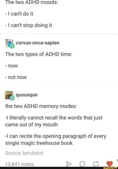 """Relatable ADHD Memes For The Afflicted And In-The-Know - Funny memes that """"GET IT"""" and want you to too. Get the latest funniest memes and keep up what is going on in the meme-o-sphere. Infp, Types Of Adhd, Adhd Funny, Adhd Humor, Gym Humor, The Afflicted, Adhd Brain, Adhd And Autism, Frases"""