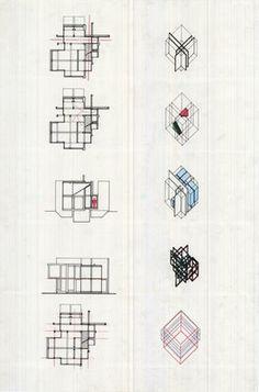 Peter Eisenman's axonometric drawings and grid-analysis