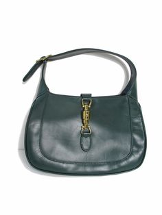 1d3ca0a54 GUCCI - 1973 dark green leather Jackie O bag Seventies Fashion, 1960s  Fashion, Timeless