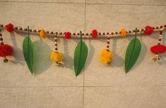 Mango leaf n pompom green yellow home decor toran, Christmas hanging, Indian wedding decoration, banjara wall hanging, window toran Diwali Decorations At Home, Indian Wedding Decorations, Decoration Crafts, Festival Decorations, Diy Crafts, Indian Doors, Yellow Home Decor, Modern Christmas Decor, Ganesha