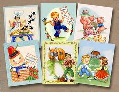 8 x 10 Nursery Rhyme Room decor set of 6 Printable Art boy children baby nursery wall art U print DIY fabric transfer etc- instant download via Etsy