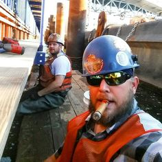 #hardhat #cigar #bluecollar #beard Cigar Men, Election Night, Good Cigars, Hard Hats, Working Man, Cigar Smoking, Mature Men, Alpha Male, Male Form