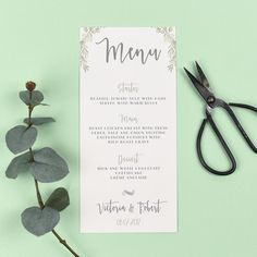 Wedding Menu - Aisling -  Watercolour Greenery Eucalyptus - EivisSa Kind Designs, Wedding Stationery West Midlands www.eivissakinddesigns.co.uk