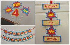 Superhéroe Banner Banner de feliz cumpleaños del Super héroe