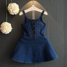 Cheap summer girl dress, Buy Quality girls jean dress directly from China fashion girl dress Suppliers: 2017 Summer Girl Dress Fashion England Style Cotton Baby Girls Jeans Dresses Sleeveless Princess kids children clothingHot sale Girls Dress 2016 N Frocks For Girls, Dresses Kids Girl, Kids Outfits Girls, Girl Outfits, Dress Girl, Family Outfits, Baby Girl Dress Patterns, Baby Dress Design, Frock Design