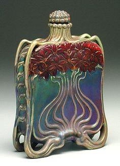 Zsolnay, Pécs, Eosin-Glaze Decorated Earthenware Bottle.