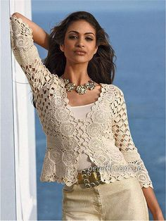 crafts for summer: lace cardigan for women, free crochet patterns - crafts ideas - crafts for kids Cardigan Au Crochet, Gilet Crochet, Beige Cardigan, Crochet Jacket, Crochet Cardigan, Cardigan Pattern, Crochet Woman, Love Crochet, Beautiful Crochet
