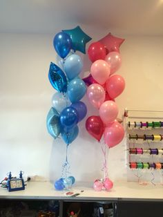 """A twist on our traditional """"Rainbow Stars"""" design - for a brother and sister one set all in Blues and the other all in Pinks Send Balloons, Balloons Online, Homeade Gifts, Balloon Delivery, Gift Bouquet, Balloon Gift, Let The Fun Begin, Rainbow Star, Gifts Delivered"""