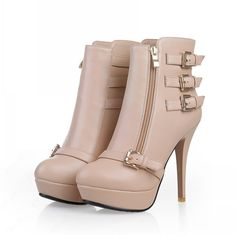 Elegant Beige Stiletto Heels Ankle Boots with Buckle