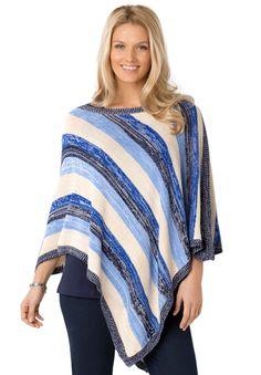 Plus Size Striped poncho