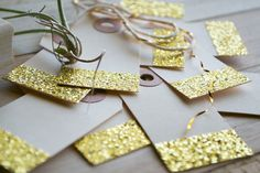 Set of 8 Gold Glitter gift tags by PerrodinSupplyCo on Etsy, $6.00