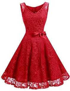Buy Dressystar Women Floral Lace Bridesmaid Party Dress Short Prom Dress V Neck. Explore our Women Fashion section featuring new ideas of the best collection of col dentelle Party Dresses For Women, Prom Party Dresses, Dresses For Teens, Short Dresses, Red Bridesmaid Dresses, Lace Bridesmaid Dresses, Disney Wedding Dresses, Lace Midi Dress, Dress Red