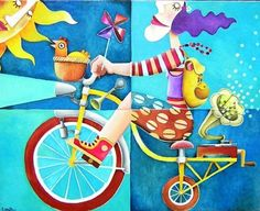"""Bicycleta"" by Leandro Lamas Bicycle Painting, Bicycle Art, Bike Illustration, Digital Illustration, Arte Pop, Traditional Paintings, Pebble Painting, Naive Art, Pretty Art"