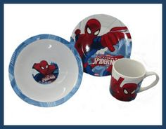 Spiderman Ceramic Breakfast Set – Bowl, plate, Mug The plate, bowl and cup are microwave and dishwasher friendly. The plate measures 19cm diameter, bowl 17 cm diameter and the cup 8cm tall. http://theceramicchefknives.com/marvel-gift-ideas-amazing-spiderman/