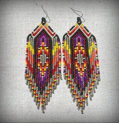 Seed Bead Jewelry, Bead Jewellery, Seed Bead Earrings, Fringe Earrings, Beaded Jewelry, Aztec Earrings, Jewelry Art, Jewelery, Bracelets