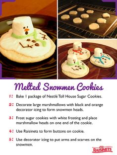 Melted Snowman Cookies- perfect for the annual cookie exchange! Christmas Treats, Holiday Treats, Christmas Fun, Holiday Recipes, Christmas Foods, Christmas Parties, Holiday Decor, Sugar Frosting, Cookie Frosting