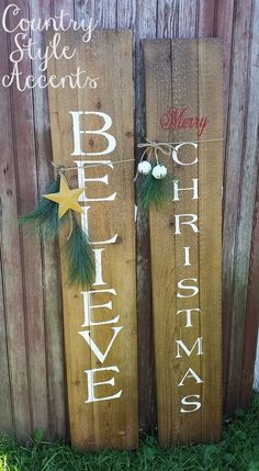 """Merry Christmas Rustic Sign – Rustic Merry Christmas sign made of cedar wood. Measures 10 1/4"""" x 5'. If you would like the Believe sign, please make a note at the checkout. Otherwise you will receive the Merry Christmas."""