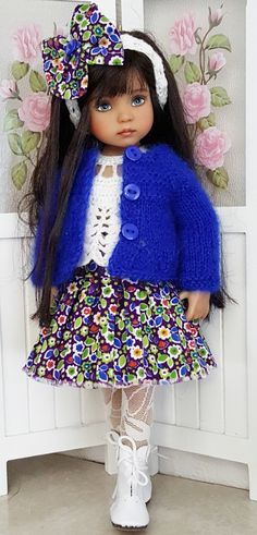 """MOHAIR SWEATER,CORDUROY&BOOTS SET MADE FOR EFFNER LITTLE DARLING 13"""" DOLLS…"""