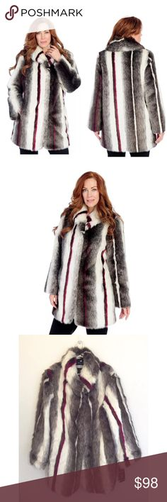 """PAMELA MCCOY DYED CHINCHILLA FAUX FUR COAT A bit on the dramatic side but oh-so luxurious, this beautiful faux fur coat is just what you need to add some va-va-voom to your closet! Its plush exterior will have you feeling nice and fabulous, while the satin-like lining allows you to slip it on and off with total comfort. The large shawl collar adds to the whole production - Fit: Classic...Pockets: Two front inset pockets; Two interior slip pockets.                     2X: Bust: 56-1/2""""…"""