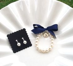 Flower Girl bracelet and earring set personalized girls