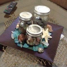 Sea glass and mason jars