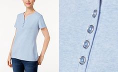Karen Scott Petite Cotton Henley T-Shirt, Only at Macy's - Tops - Women - Macy'sPut together cool casual looks starting with Karen Scott's essential solid petite henley top. Henley neckline Pullover styling Loose fit Unlined Hits at hip Generous sizing; if in-between sizes, consider sizing down Cotton Machine washable Color:  Lt Blue Heather Size:    P/S