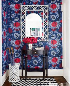Foyers are small, but shouldn't be devoid of personality. Add a jolt of color or add an unexpected pattern to turn the space into something that reflects your style. When your canvas is relatively tiny, you can go for the bold without going crazy. Click for more ways to make your entryway pop — and to make it look way more expensive than it is.