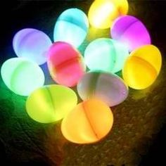 Its almost Easter!!  This is super fun!! Put glow sticks in artificial eggs and have an Easter egg hunt inside or outside with the little ones !!! :)